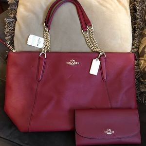 Coach Dark Red Pebble Leather Ava Chain & Wallet
